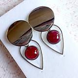 Náušnice - Natural Ruby Stainless Steel Earrings / Náušnice s rubínom (chirurgická oceľ) - 10899982_