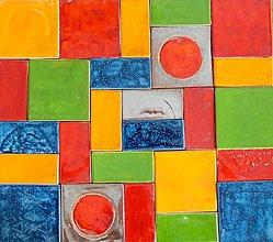 Dekorácie - Keramické kachličky- pestrofarebné - 10899746_