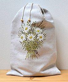 Úžitkový textil - Ľanové vrecko na chlieb-podšité-Kytica margarét - 10897879_