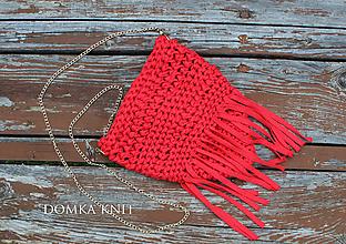 Kabelky - Červená háčkovaná kabelka (bez strapca) - 10899208_