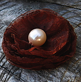 Odznaky/Brošne - brož čokoládová ružička - 10899934_
