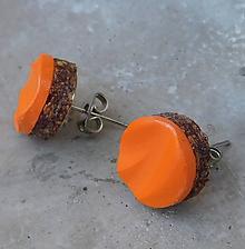 Náušnice - napichovačky korkové vlnky oranž - 10899054_
