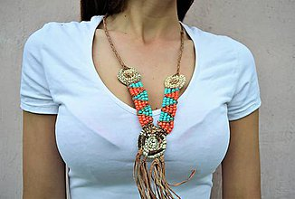 Náhrdelníky - Kožený náhrdelník, šperky v egyptskom štýle - 10897849_
