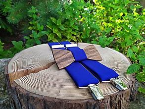 Doplnky - Pánsky drevený motýlik a traky - 10899015_