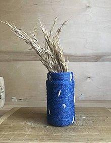 Dekorácie - Vzorovaná modrá recyklovaná váza - 10898716_