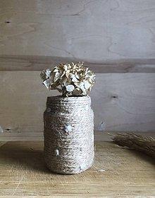 """Dekorácie - """"Bodkovaná béžová"""" recyklovaná váza - 10898739_"""