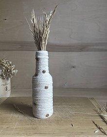 """Dekorácie - """"Bodkovaná biela"""" recyklovaná váza - 10899443_"""