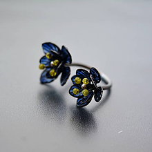 Prstene - Prsten modrý kvietok - 10898038_