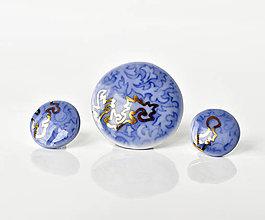 Sady šperkov - Kobaltové šperky se zlatem - 10900287_