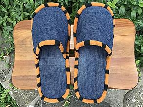 Obuv - Modré denim papuče s oranžovým lemom - 10897855_