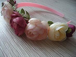 Ozdoby do vlasov - ružičková čelenka - 10898543_
