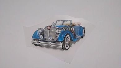 Galantéria - Nažehľovačka Auto modré - 10897618_
