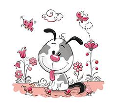 Galantéria - Nažehľovačka Psík medzi kvetmi a motýľmi - 10899551_