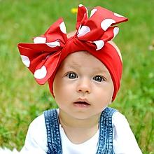 Detské doplnky - Čelenka Rozkvitám /červená s bodkami - 10899711_