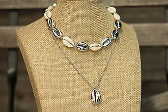 Náhrdelníky - Choker z prírodných mušlí silver/natural - 10898086_