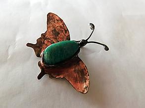 Náhrdelníky - Motýľ s amazonitom, tiffany - 10901946_