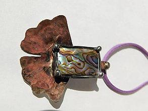 Náhrdelníky - Ginko s paua mušľou, tiffany - 10901979_