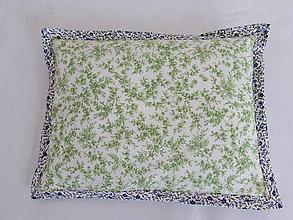 Úžitkový textil - Vankúšik zelené kvietky - 10902729_