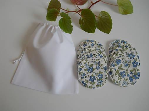 Odličovacie tampóny - Biele froté s modrými kvetinkami
