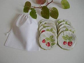Úžitkový textil - Odličovacie tampóny - Zelené froté s jahodami - 10900911_