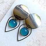 Náušnice - Natural Blue Chalcedony Stainless Steel Earrings / Náušnice s modrým chalcedónom (chirurgická oceľ) - 10903189_
