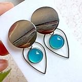 Náušnice - Natural Blue Chalcedony Stainless Steel Earrings / Náušnice s modrým chalcedónom (chirurgická oceľ) - 10903190_