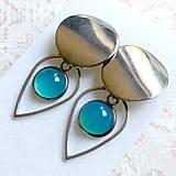 Náušnice - Natural Blue Chalcedony Stainless Steel Earrings / Náušnice s modrým chalcedónom (chirurgická oceľ) - 10903191_