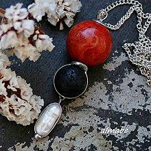 Náhrdelníky - Kontrasty....(korál, láva, perla) - 10902341_