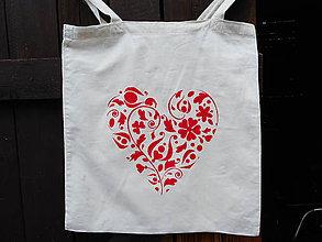 Nákupné tašky - red heart-slovakia-folk-ekotaška - 10903589_