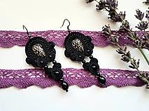 Náušnice - Black Luizana - soutache earring - ručne šité šujtášové náušnice - 10900882_