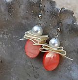 Náušnice - perleťové lososové krásky - 10900813_