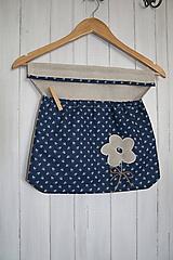 Úžitkový textil - Vrecko na štipce modrotlač kvietok - 10903355_