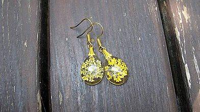 Náušnice - Kvietky v živicových slzičkách menších (Žlté kvietky č.1840) - 10901243_