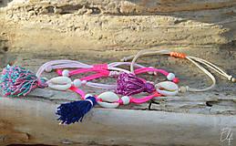 Náramky - • Farebné náramky s mušľou a strapčekom • (Hnedá) - 10902866_