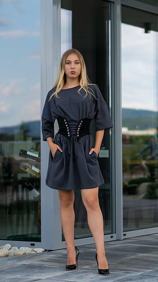 Šaty oversize sivé