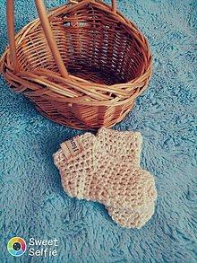 Topánočky - Háčkované ponožky biele - 10901465_