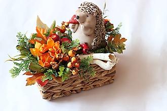 Dekorácie - Jesenná dekorácia ježko - 10901481_