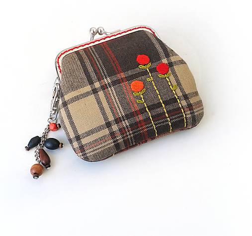 Peňaženka mini  Károvaná s kvietkami