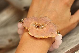 Náramky - Mohutný náramok s achátovou drúzou a minerálom ruženín - 10900914_