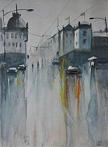 Obrazy - Dážď v meste - 10902279_