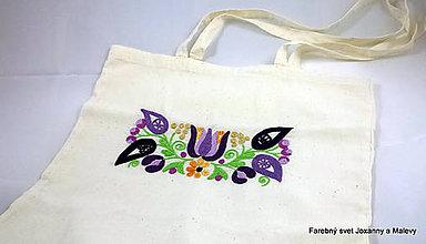 Iné tašky - bavlnená taška Vyšívaná fialová - 10903277_