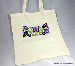 Iné tašky - bavlnená taška Vyšívaná fialová - 10903278_
