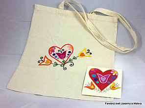 Nákupné tašky - bavlnená taška Srdce s pozdravom - 10903311_