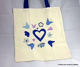 Nákupné tašky - bavlnená taška Modré srdce - 10903337_