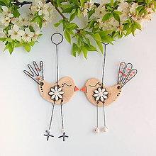 Dekorácie - vtáčik s kvetom - 10905613_