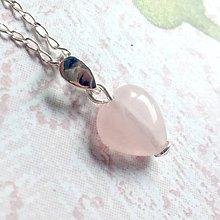 Náhrdelníky - Rose Quartz Heart AG925 Pendant / Strieborný prívesok srdce - ruženín /A0059 - 10904633_