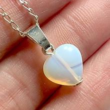 Náhrdelníky - Opalite Heart AG925 Pendant / Strieborný prívesok srdce - opalit /A0059 - 10904646_
