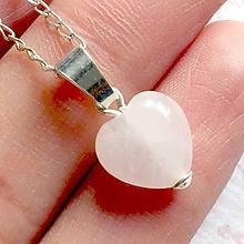 Náhrdelníky - Rose Quartz Heart AG925 Pendant / Strieborný prívesok srdce - ruženín - 10904652_