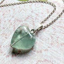 Náhrdelníky - Green Fluorite Heart AG925 Pendant / Strieborný prívesok srdce - zelený fluorit /A0059 - 10904660_