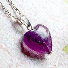 Náhrdelníky - Violet Fluorite Heart AG925 Pendant / Strieborný prívesok srdce - fialový fluorit /A0059 - 10904676_